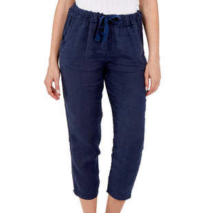 NOVA of London Linen Trousers in Navy (Size 8-14)