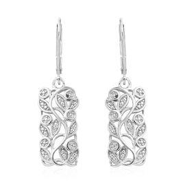 Diamond (Rnd) Leaves Earrings in Platinum Overlay Sterling Silver