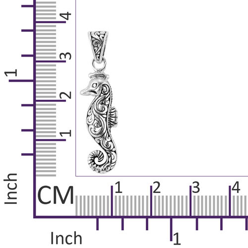 Royal Bali Collection- Sterling Silver Seahorse Filigree Pendant