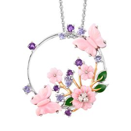 Jardin Collection - Pink Mother of Pearl, Amethyst, Tanzanite and Natural White Cambodian Zircon Ena