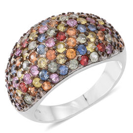 Designer Inspired 4.750 Ct Rainbow Sapphire Cluster Ring in Rhodium Plated Silver 6.70 Grams