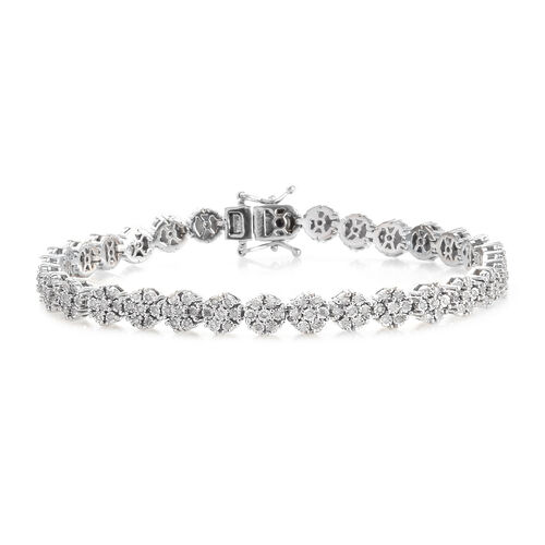 GP Diamond and Blue Sapphire Floral Tennis Style Bracelet in Platinum Plated Silver 7.5 Inch
