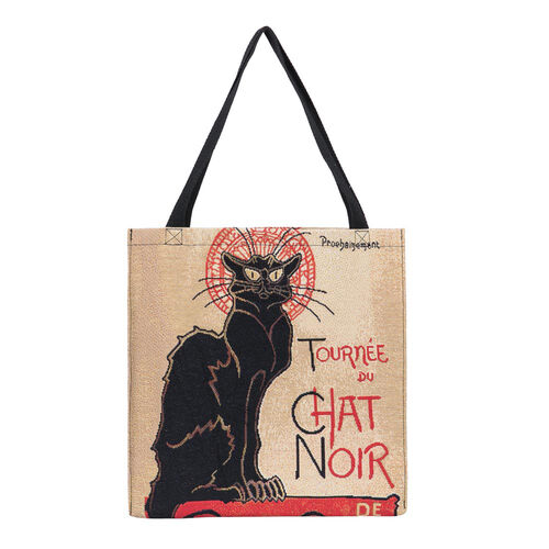 Signare Tapestry - 2 Piece Set - Tournee du Chat Noir Crossbody Bag (33x8x34cm) and Gusset Bag (22x5x17cm) in Beige