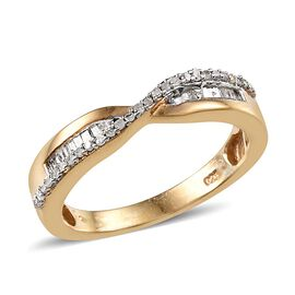Diamond Criss Cross Ring in 14K Gold Overlay Sterling Silver 0.25 Ct.