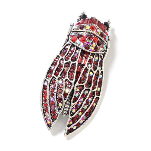 Multi Colour Austrian Crystal (Rnd), Simulated Ruby Brooch in Silver Tone