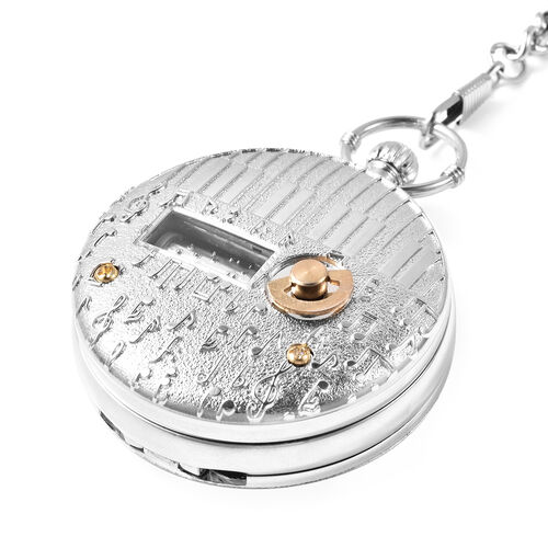 STRADA Japanese Movement Roman Number Pattern Water Resistant Music Pocket Watch with Chain (Size 14) in Silver Tone