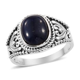 Artisan Crafted Blue Sapphire (Cush) Ring in Sterling Silver 5.540 Ct.