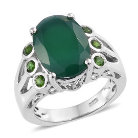 5.33 Ct Verde Onyx and Russian Diopside Solitaire Design Ring in Sterling Silver 5.5 Grams