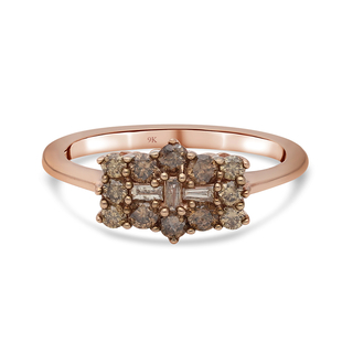 9K Rose Gold SGL Certified Natural Champagne Diamond (I3) Boat Ring 0.50 ct.
