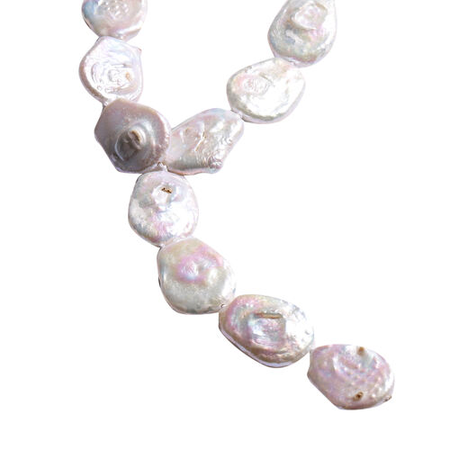 Baroque White Pearl Necklace (Size 24) with Magnetic Lock in Rhodium Overlay Sterling Silver