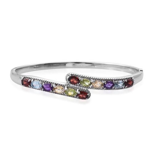 6 Carat Multi Gemstones Bypass Design Bangle in Silver Tone 7.5 Inch