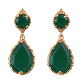 10 Carat Verde Onyx Drop Earrings in Gold Plated Sterling Silver 5.79 Grams