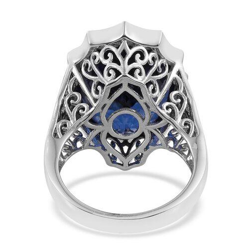Ceylon Colour Quartz (Ovl) Ring in Platinum Overlay Sterling Silver 18.000 Ct.