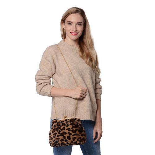 Brown Leopard Pattern Faux Fur Clutch Closure Crossbody Bag (Size: 23x10x18cm) with Chain Shoulder Strap (L: 120cm) in Gold Tone