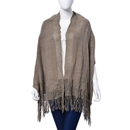 Khaki Colour Checks and Hollowed Out Pattern Scarf with Tassels (Size 160x50 Cm)