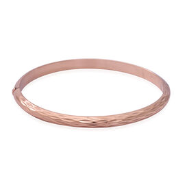 NY Close Out - Rose Gold Overlay Sterling Silver Bangle (Size 7.8), Silver wt. 7.08 Gms