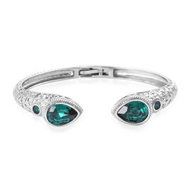 One Time Deal- J Francis Crystal from Swarovski - Emerald Colour Crystal (Pear) Bangle (Size 7.5) in Stainless Steel
