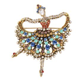Multi Colour Austrian Crystal and Simulated Pearl Ballerina Brooch in Gold Tone