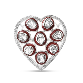 GP Amore Collection Polki Diamond , Kanchanaburi Blue Sapphire Ring in Platinum Overlay Sterling Sil