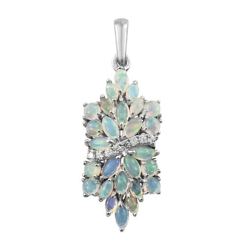 Ethiopian Welo Opal (Mrq), Natural Cambodian Zircon Floral Pendant in Platinum Overlay Sterling Silver 2.000 Ct.