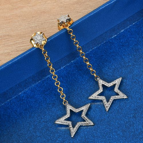 Diamond Star Dangle Earrings (with Push Back) in 14K Gold Overlay Sterling Silver