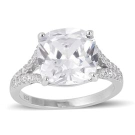 ELANZA Simulated Diamond (Cush 12x12 mm) Ring in Rhodium Overlay Sterling Silver, Silver wt 3.67 Gms.