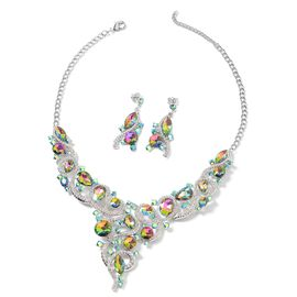 2 Piece Aurora and White Crystal Choker Necklace and Drop Earring 20 Inch