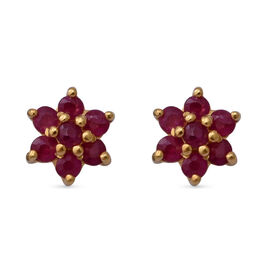 Burmese Ruby Floral Stud Earrings (with Push Back) in Yellow Gold Overlay Sterling Silver