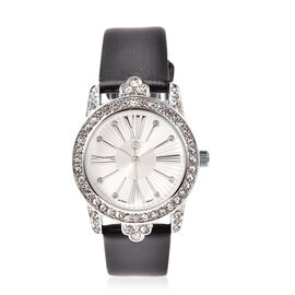Strada Japanese Movement White Crystal Watch with Faux Leather Strap