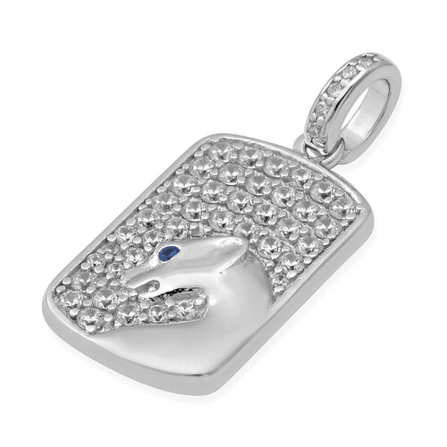 ELANZA Simulated Diamond and Simulated Blue Sapphire Dog-Tag Style Panther Pendant in Rhodium Overlay Sterling Silver