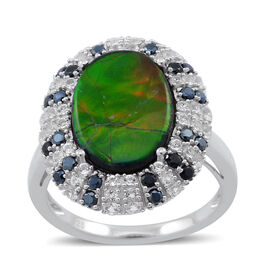 4.75 Ct Ammolite and Multi Gemstone Halo Ring in Rhodium Plated Silver