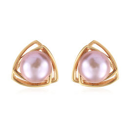Freshwater Pink Pearl (Rnd) Stud Earrings (with Push Back) in 14K Gold Overlay Sterling Silver