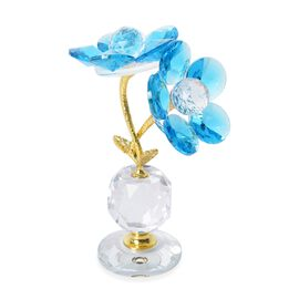 Home Decor -  Faceted Crystal Flower with Pot - Blue and Gold