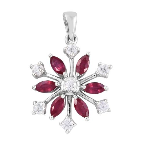 AA African Ruby (Mrq), Natural Cambodian Zircon Snowflake Pendant in Platinum Overlay Sterling Silve