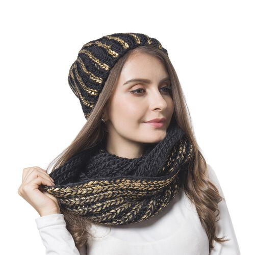 Golden and Black Colour Knitted Wheat Pattern Infinity Scarf (Size 56X27 Cm) and Slouchy Hat (Size 20x20 Cm)