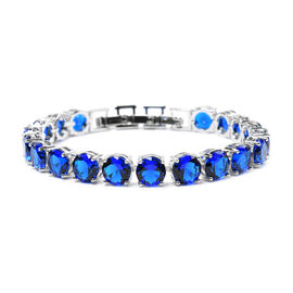 Simulated Blue Sapphire Tennis Bracelet (Size 8 with Extender) in Silver Tone