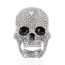 White Austrian Crystal (Rnd), Simulated Diamond Skull Brooch