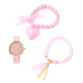 3 Piece Set - STRADA Japanese Movement Watch Simulated Rose Quartz, White Austrian Crystal and Multi