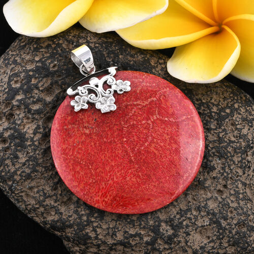 Royal Bali Collection - Sponge Coral Round Pendant in Sterling Silver