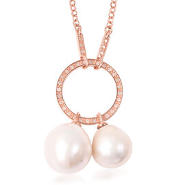Isabella Liu Twilight Collection - Baroque Edison Pearl and Diamond Necklace (Size 22) in Rose Gold