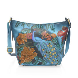 SUKRITI - 100% Genuine Leather Blue and Multi Colour Peacock Handpainted Hobo Bag with External Zipper Pocket and Adjustable Shoulder Strap (Size 30x23x10 Cm)