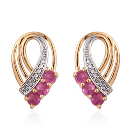 African Ruby (Rnd) Stud Earrings (with Push Back) in 14K Gold Overlay Sterling Silver