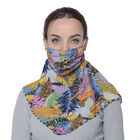 2 in 1 Leaf Pattern Chiffon Soft Feel Scarf and Protective Face Covering (Size 45x45 Cm) - Multi