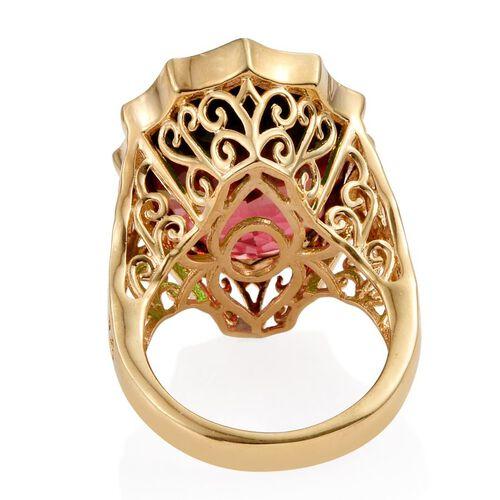 Bi-Color Tourmaline Quartz (Ovl) Ring in 14K Gold Overlay Sterling Silver 18.250 Ct. Silver wt 7.10 Gms.