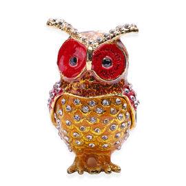 Black and White Austrian Crystal Studded Enamelled Owl Trinket Box