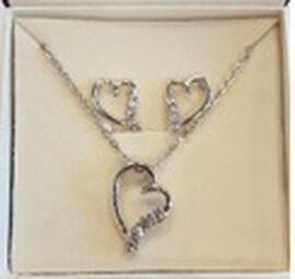 INSPIRATIONS 2 Piece Set - White Austrian Crystal Heart Pendant with Chain (Size 18) & Heart Earring