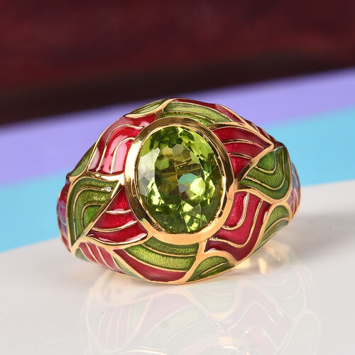 AA Hebei Peridot Enamelled Dome Ring in 14K Gold Overlay Sterling Silver 2.50 Ct, Silver wt. 6.15 Gms