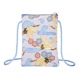 Signare Tapestry - Japanese Crane Smart Bag (Size 12x17x1.5 Cm)