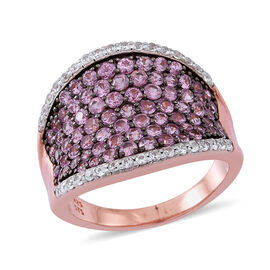 Limited Available- AA Pink Sapphire (Rnd), Natural White Cambodian Zircon Saddle Ring in 14K Rose Go