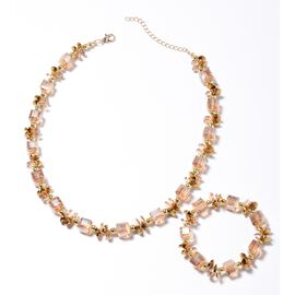 2 Piece Set - Simulated Morganite Necklace (Size 17.5 with 4 inch Extender) and Stretchable Bracelet